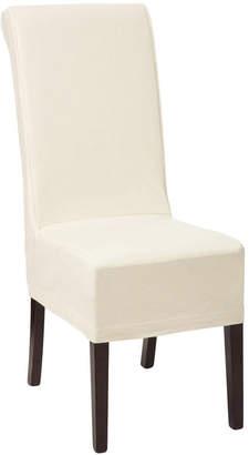 OKA Echo Dining Chair - Dark Wood & Cotton Slip Cover