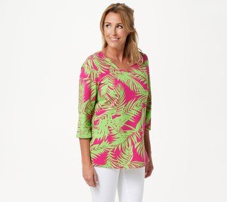 Belle By Kim Gravel TripleLuxe Knit 3/4-Sleeve Palm Print Top
