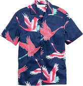 H&M Patterned Resort Shirt - Dark blue/flamingo - Men