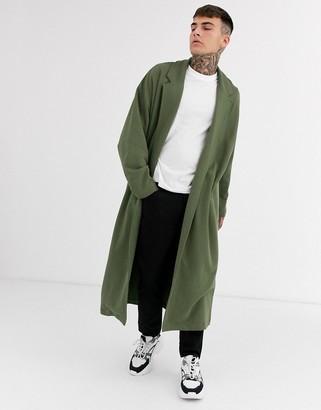 Asos Design DESIGN extreme oversized longline jersey duster jacket in khaki-Green