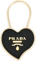 Prada Logo saffiano heart keyring