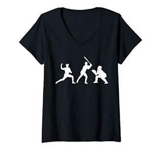 Womens Baseball pitcher batter V-Neck T-Shirt