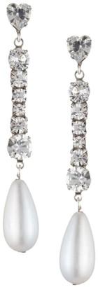 Dannijo Rita Crystal & 25MM Man-Made Pearl Drop Earrings