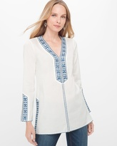 White House Black Market Embroidered Voile Tunic
