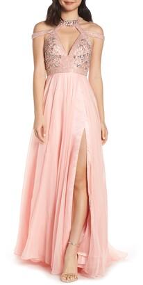 Mac Duggal Strappy Beaded Bodice Chiffon Evening Dress