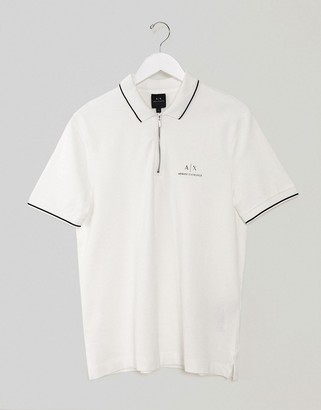 Armani Exchange polo shirt with half zip in white