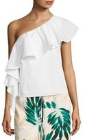 Scripted One-Shoulder Ruffled Top