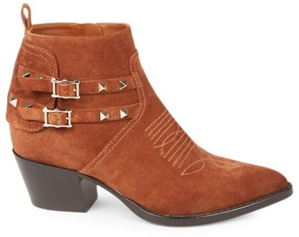 Valentino Rockstud Western Suede Ankle Boots