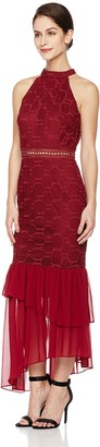 Social Graces Women's High Neck Sleeveless Guipure Lace Midi Cocktail Dress with Sheer Ruffle Skirt 14 Wine Red