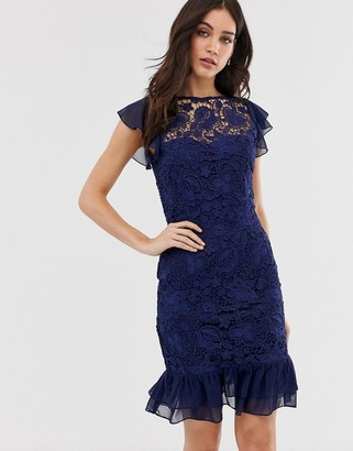 Paper Dolls capped sleeve lace midi dress-Navy