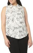 Evans Plus Size Women's Floral Print Sleeveless Shirt