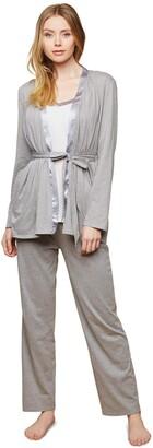 Motherhood Maternity Women's Maternity Satin Trim 3 Piece Pajama Set with Nursing Function