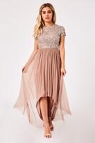 Little Mistress Elise Mink Hand-Embellished Sequin Hi-Low Prom Dress