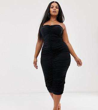 Club L London Plus bandeau ruched midi dress in black
