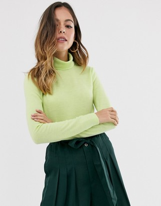 Moon River lime roll neck jumper-Green