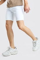 boohoo Mens White Stretch Skinny Denim Short, White