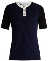 Courreges Contrast-neckline ribbed-knit top