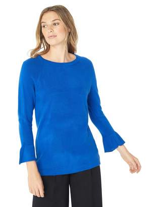 Napa Valley Women's Pullover Sweater with Ruffle Bell Sleeve