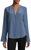 Joie Ceegan Long-Sleeve Silk Top, Blue