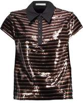 Alice + Olivia Alice+olivia Tamlyn Sequined Mesh And Cotton-Blend Top