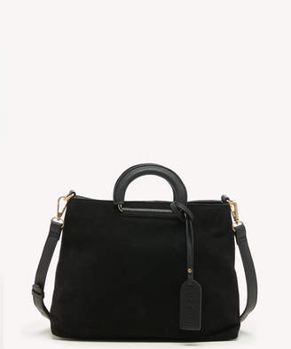 Sole Society Women's Parker Satchel Mix Suede In Color: Black Bag Faux Leather From
