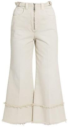 Miu Miu Drill Frayed High-Rise Cropped Pants