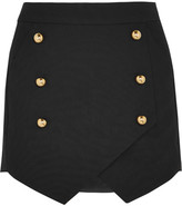 Michelle Mason - Wrap-effect Crepe Mini Skirt - Black