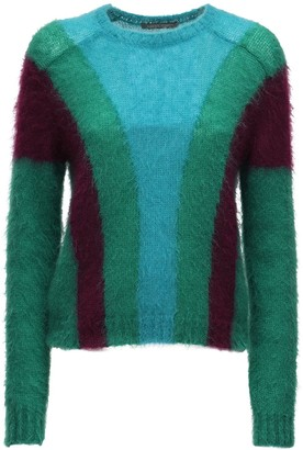 Alberta Ferretti Color Block Knit Mohair Blend Sweater