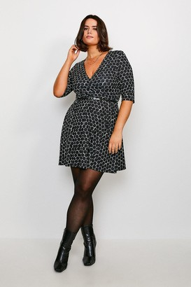 Karen Millen Curve 3/4 Sleeve Printed Wrap Dress