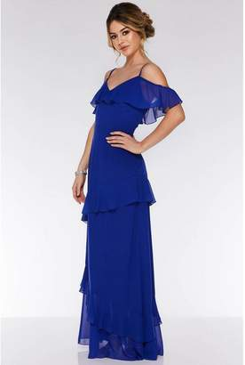 Quiz Royal Blue Cold Shoulder Maxi Dress