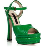 Chrissie Morris Grass Green Python Platform Sandals