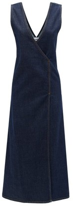 Ganni Wrap-front Denim Midi Dress - Womens - Dark Denim