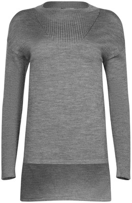 Ny Charisma Grey Ribbed Neck Trim High-Low Pullover