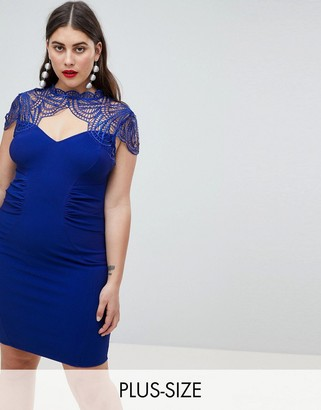 Lipsy Sweetheart Pencil Dress With Lace Detail