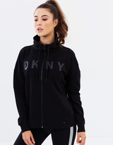 DKNY Mock Neck Zip Front Sweatshirt
