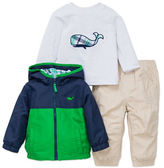 Little Me Baby Boys Three-Piece Hoodie, Whale Graphic Tee and Pants Set