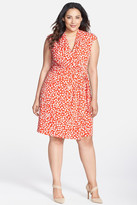 Eliza J Dot Print Cap Sleeve Surplice Jersey Dress (Plus Size)