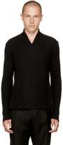 Balmain Black Crossover Shawlneck Sweater