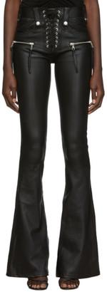 Unravel Black Leather Lace-Up Plonge Trousers