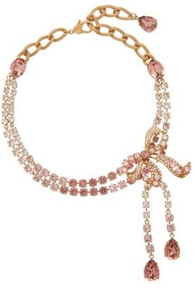 Dolce & Gabbana Crystal-bow Choker Necklace - Womens - Crystal