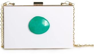 Christina Greene Agate Evening Clutch White & Turquoise