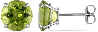 Miadora 14k White Gold 4ct TGW Peridot Solitaire Earrings
