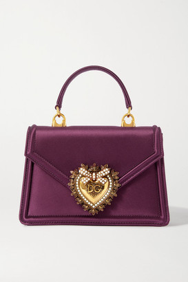Dolce & Gabbana Devotion Mini Embellished Satin Tote - Pink