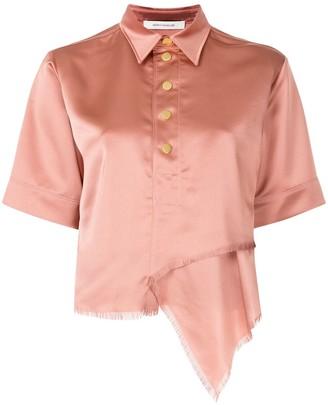 Cédric Charlier Unfinished Hemline Short Sleeve Shirt