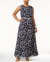 Jessica Howard Plus Size Printed Belted Maxi Dress