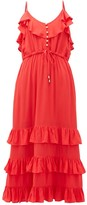 Melissa Odabash Bethan Tiered-ruffled Midi Dress - Womens - Red