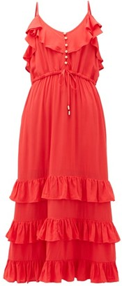 Melissa Odabash Bethan Tiered-ruffled Midi Dress - Womens - Red