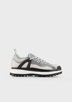 Giorgio Armani Chunky Suede Sneakers With Rubber Details