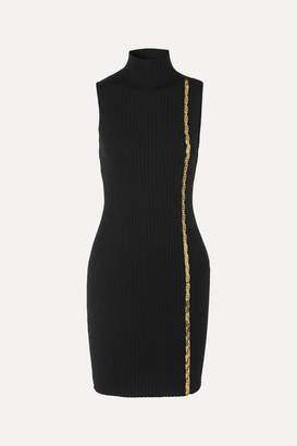 Versace Embellished Ribbed Wool-blend Turtleneck Mini Dress - Black