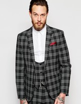 Asos Skinny Suit Jacket In Plaid Check